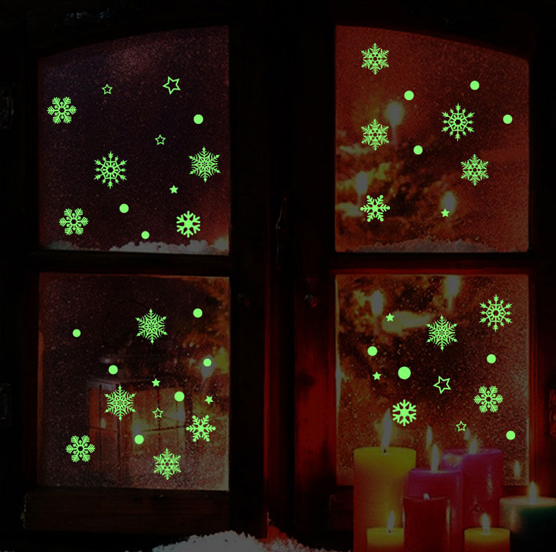 Creative Snow Fluorescent Luminous Paste Stickers Night Light Living Room Bedroom Decorative Wall Sticker Can Be Removed DIY PVC Permanent Luminous Paste Stickers for Kids Rooms Festival Party Decor