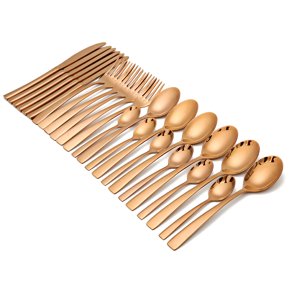 KCASA KC-ST05 High-end Stainless Steel 24 Pieces Gold Flatware Set Dinnerware Set