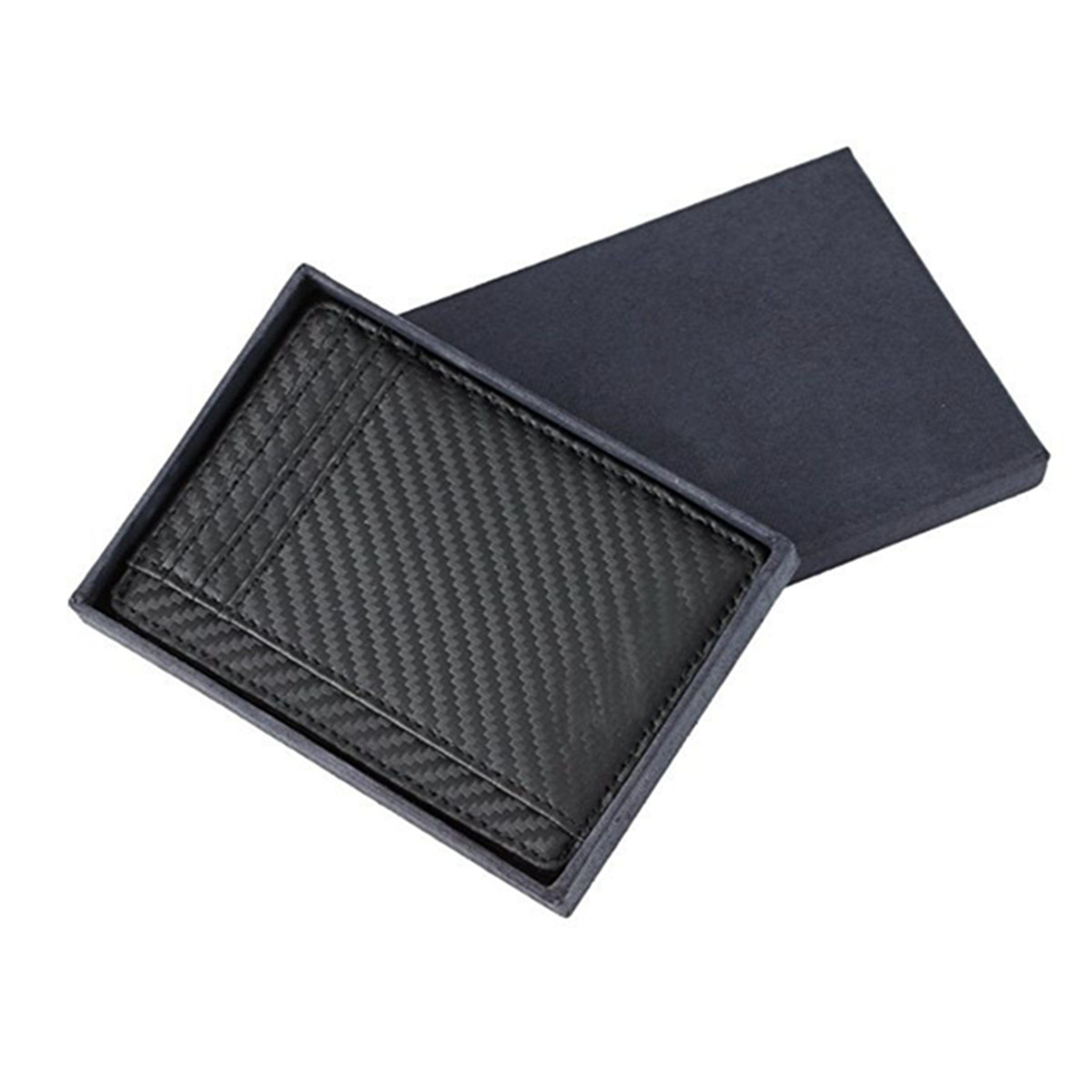 Men RFID Blocking Carbon Fiber Leather Wallet Short Purse Credit Card Holder Case