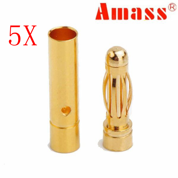 5 X Amass 3.0mm Gold-plated Copper Banana Plug AM-1001B Male & Female