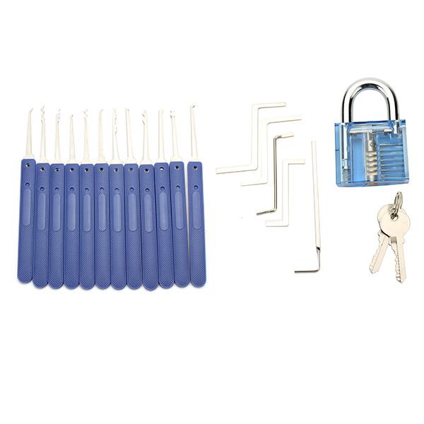 DANIU 12pcs Unlocking Lock Pick Set Key Extractor Tool with Blue Practice Padlock Lock Pick Tools