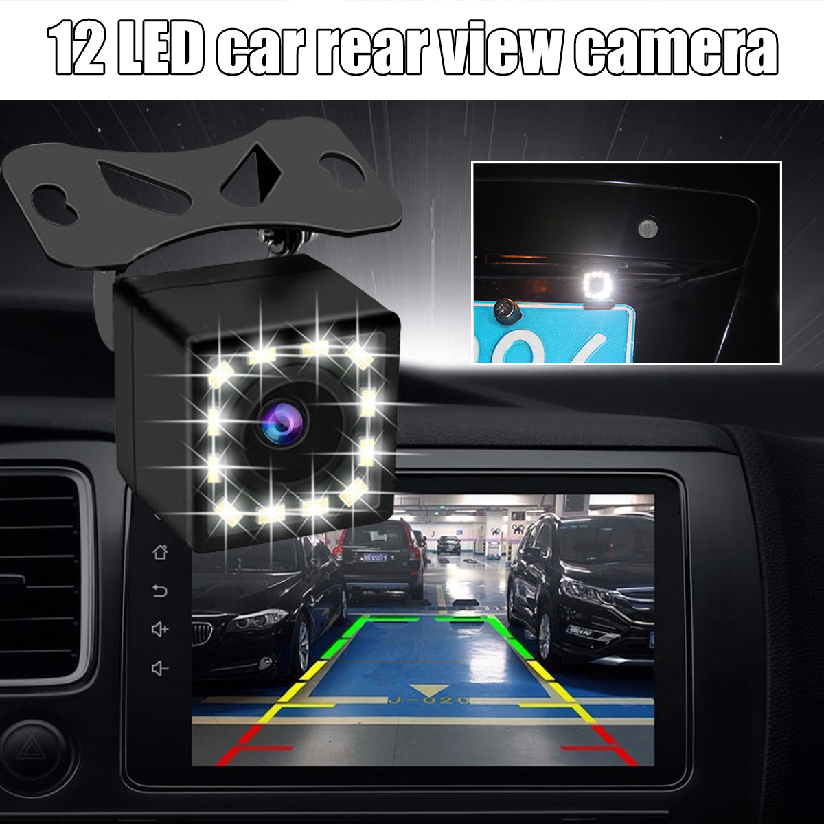 170 Degree Car Vehicle Rear View Kit Reverse Backup Parking Car Camera 12 LED with Cable