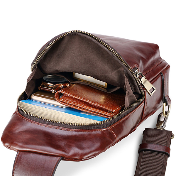 Men Oil Wax Genuine Leather Business Chest Bag Crossbody Bag