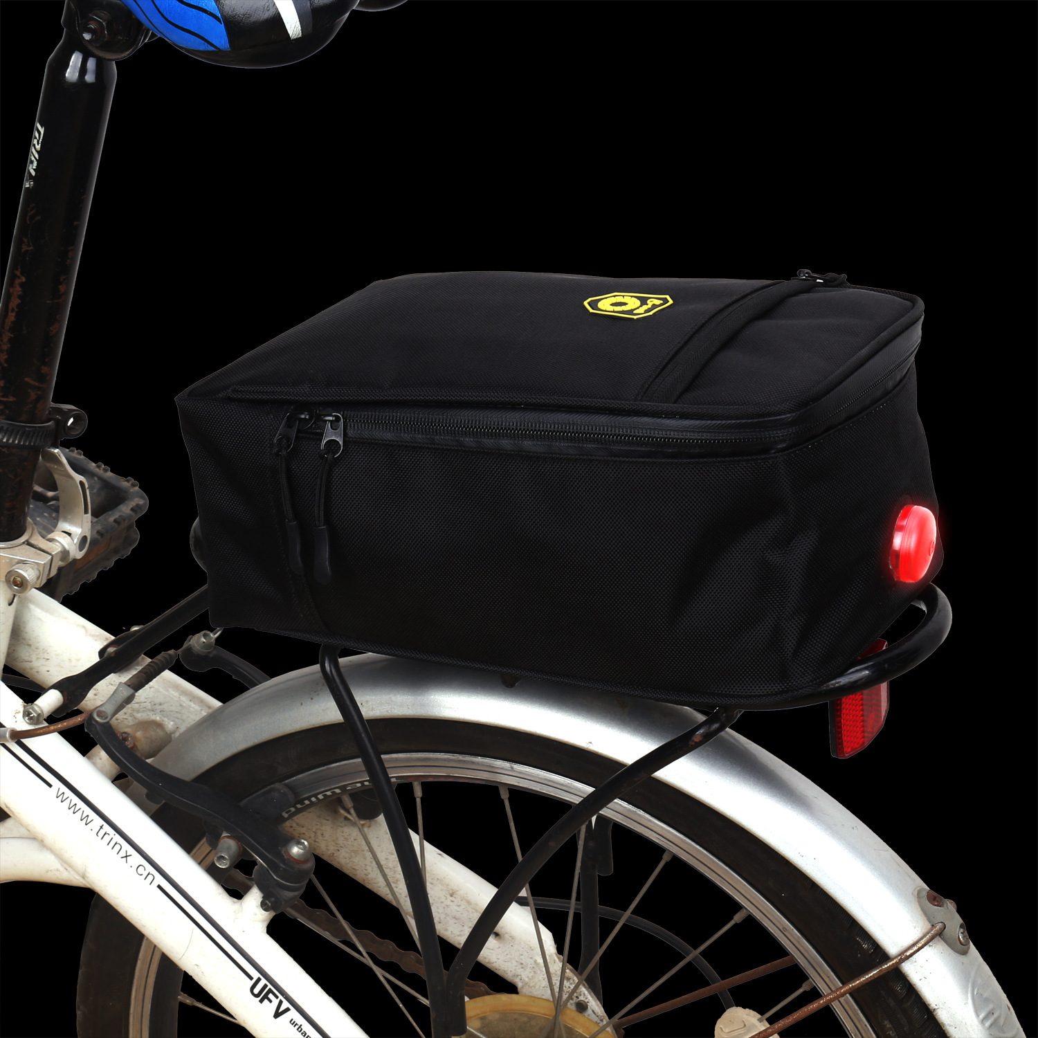 BIKIGHT Polyester Waterproof Bicycle Cycling Bike Backpack Seat Bag Foldable Motorcycle Battery Bag with Tillight