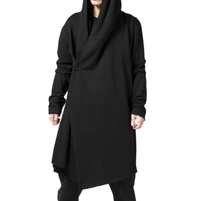 ChArmkpR Mens Casual Hoodies Mid-long Solid Color Cotton Loo