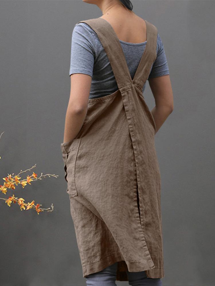 Women Sleeveless Side Pockets Cotton Loose Apron Dress