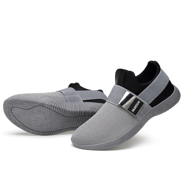 Men Comfortable Elastic Band Slip On Casual Athletic Shoes