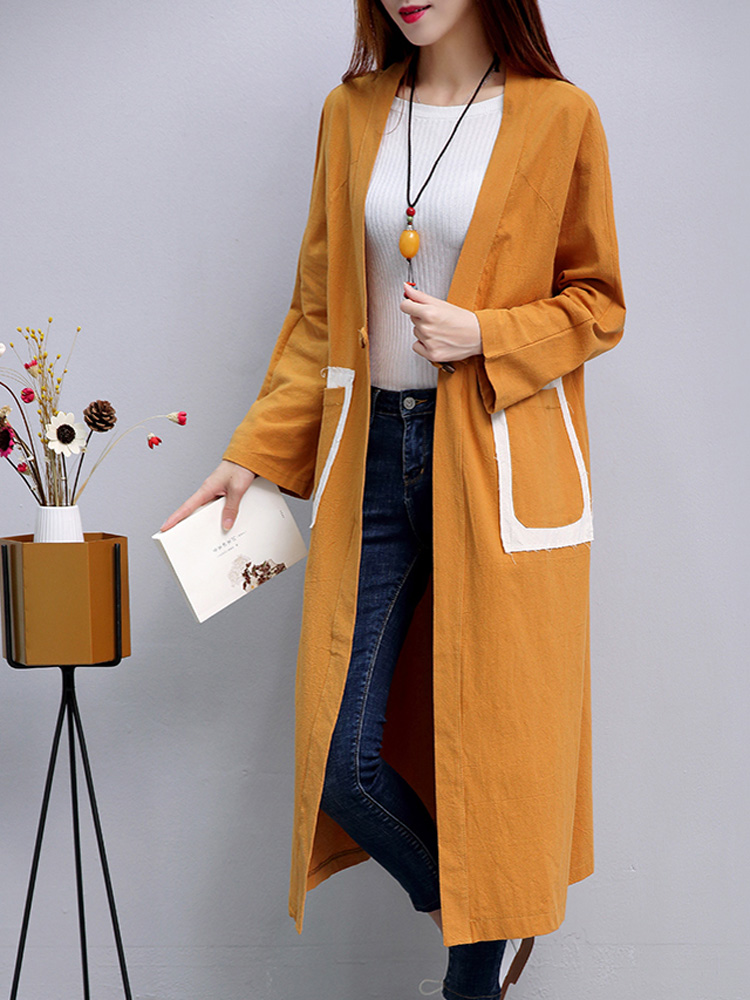 Women Long Section Bat Sleeve Solid Color Cardigan