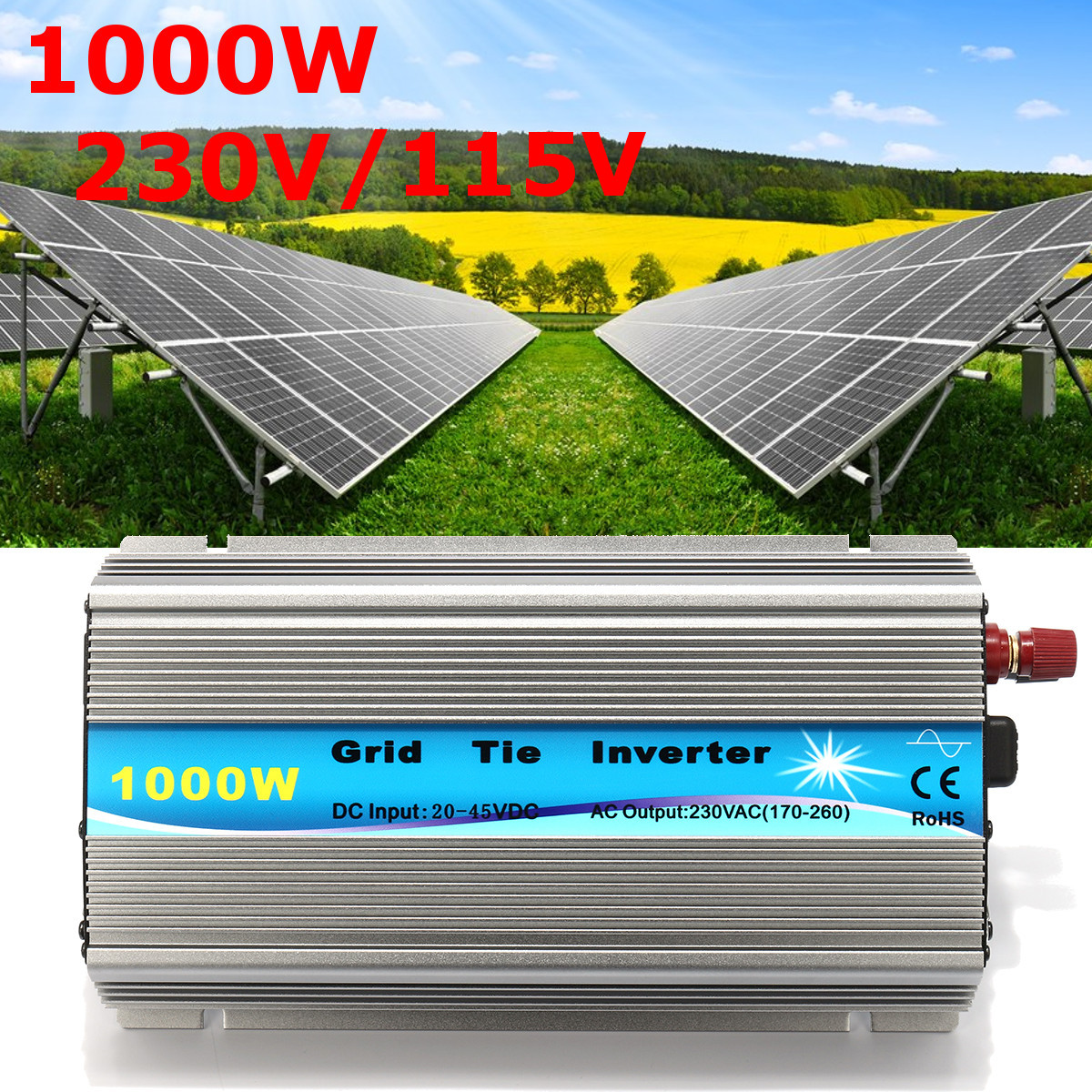 1000W Grid Tie Inverter 115V/230V MPPT Pure Sine Wave Inverter 50Hz/60Hz
