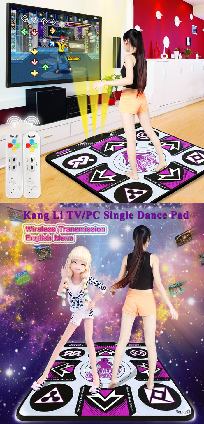 KangLi TV/PC Wireless Single Thicken Dance Pad English Menu Sensing Dancing Mat