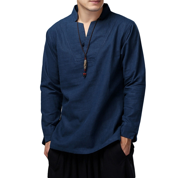 Mens Loose Cotton Linen Long Sleeven Stand Collar T-Shirt