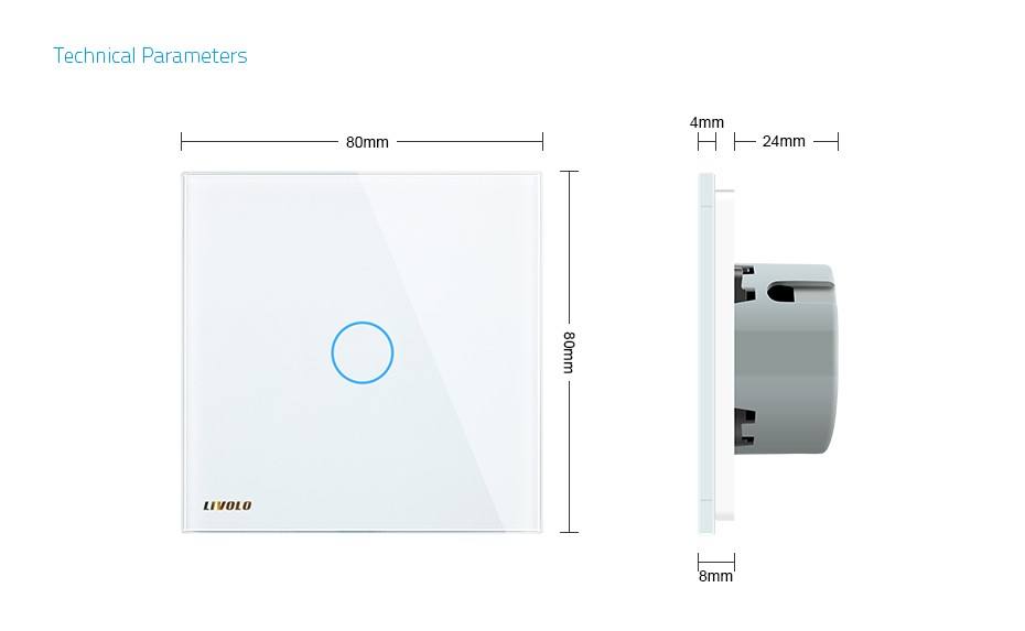 Livolo White Glass Touch Dimmer Panel Switch EU Standard VL-C701D-11