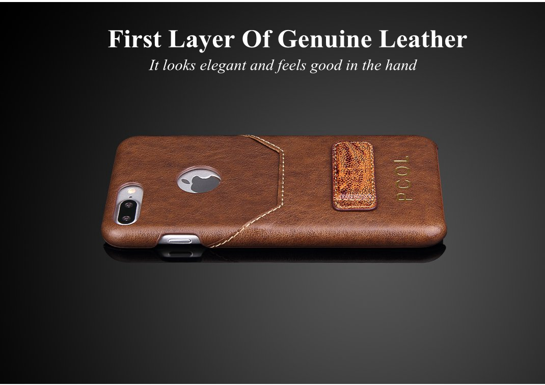 PCOL Genuine Leather Wallet Card Slot Kickstand Case For iPhone 7 Plus/8 Plus