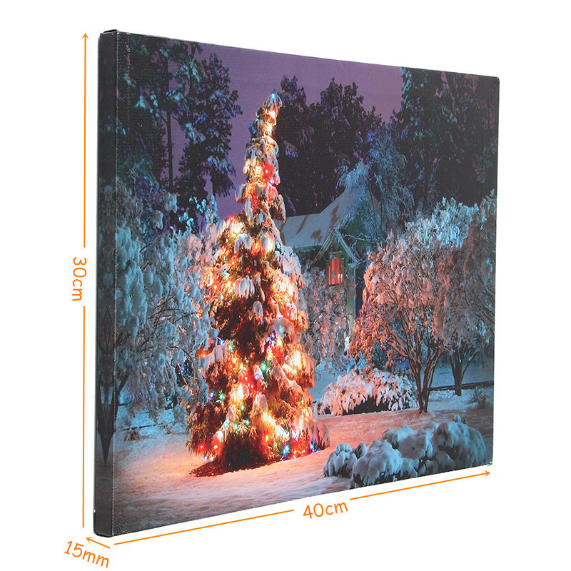 40 x 30cm Battery Operated LED Christmas Snowy House Front Tree Xmas Canvas Print Wall Art