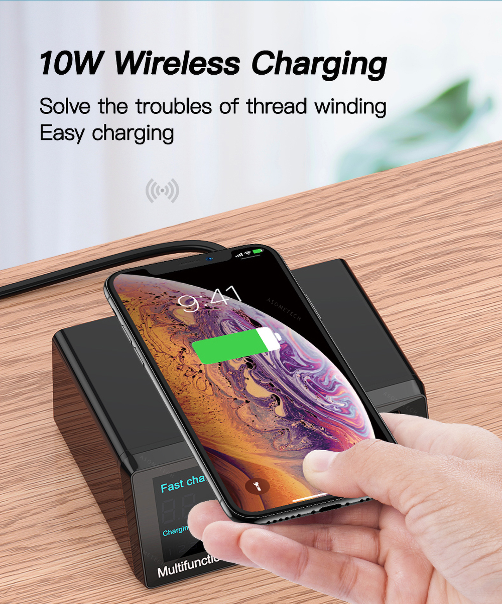 Bakeey 100W 8-Port USB PD Charger PD3.0 QC3.0 Desktop Charging Station Smart Charger 10W Wireless Charger Charging Pad For iPhone 11 SE 2020 Huawei Xiaomi