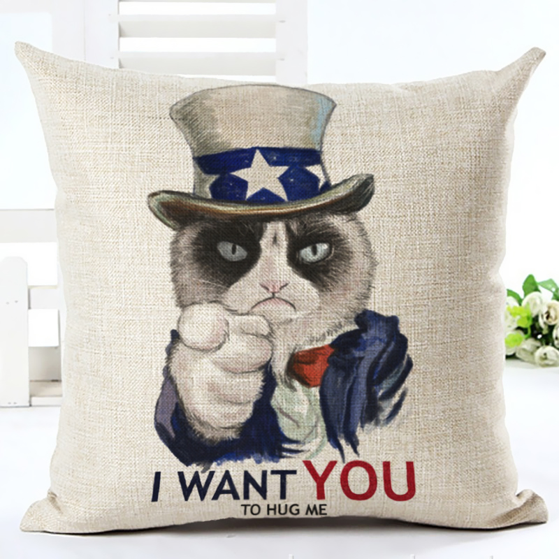 Honana 45x45cm Home Decoration Cartoon Cat Dog Animals Design 10 Optional Patterns Cotton Linen Pillowcases Sofa Cushion Cover