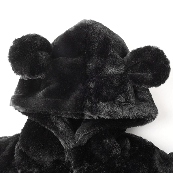 Kid Baby Girls Black Faxu Fur Hooded Coats