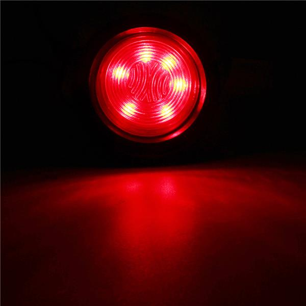 Round 6 LED Red Yellow Light Side Marker Truck Trailer Clearance Grommet Lamp