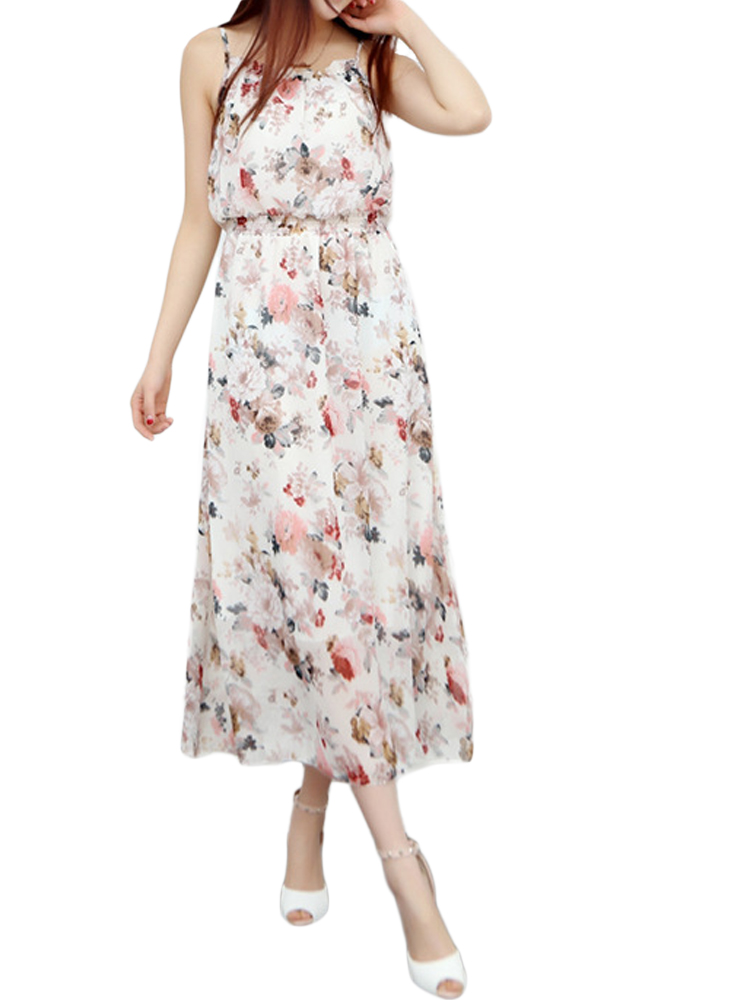 Sexy Women Strap Backless Floral High Waist Chiffon Maxi Dress