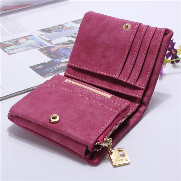Women 3 Folded Short Wallets Girls Matte Zipper Purse Card Holder Coin Bags