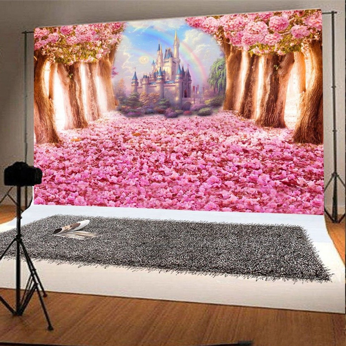 5x7FT 3x5FT Pink Flower Road Tree Castle Photography Backdrop Background Studio Prop