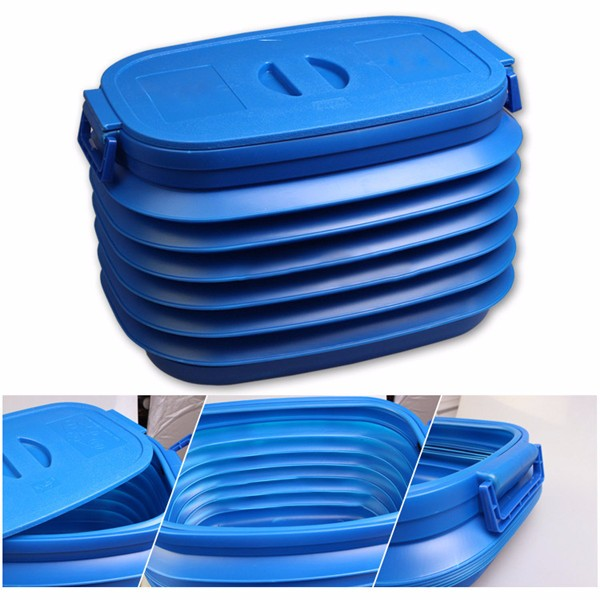 37 L Blue Car Folding Telescopic Glove Barrel Car Retractable Storage Box Outdoor Bucket