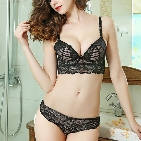 Lace Gathered Adjustment Cosy Push Up Bra Sets
