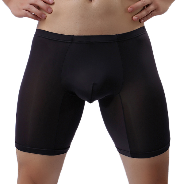 Mens Ice Sillk Soft Anti-friction U Convex Sport Boxer Underwear