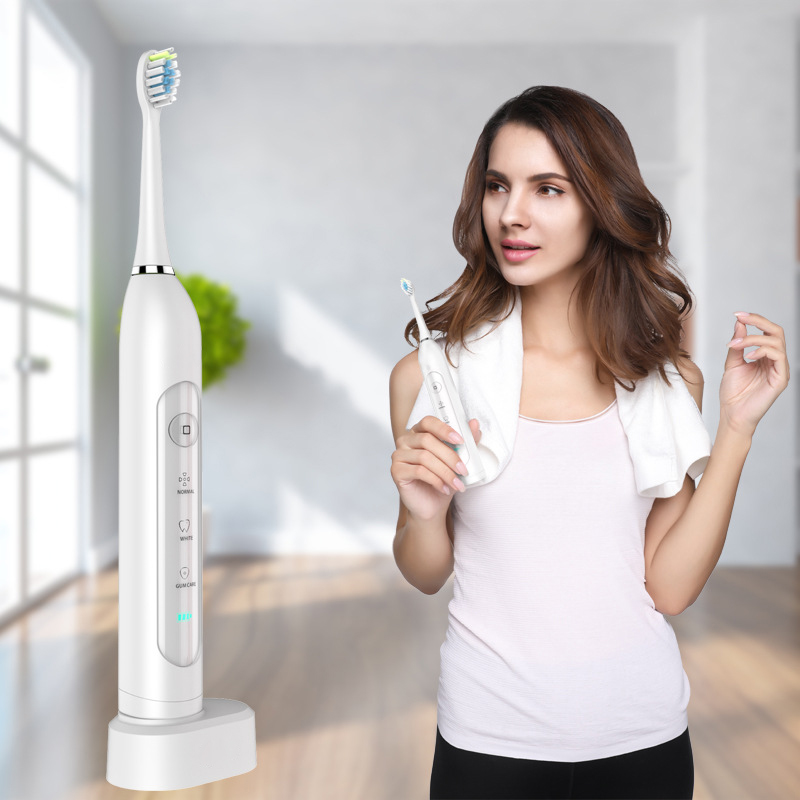 CHIGO CG - 105 Electric Toothbrush 3 Brush Modes Wireless USB Rechargeable Toothbrush IPX7 Waterproof With 2 Toothbrush Head