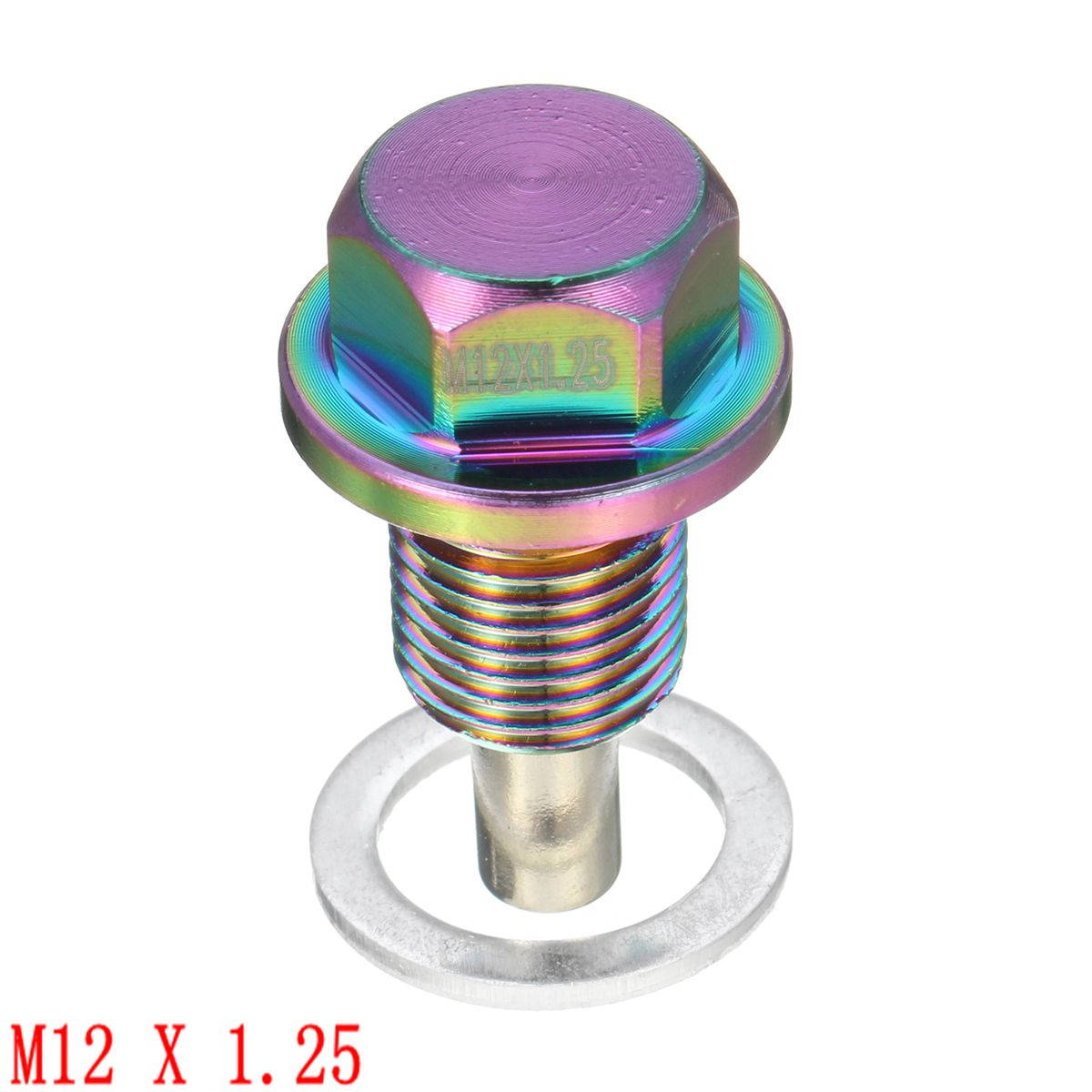 M12x1.25 Neo Chrome Magnetic Engine Oil Pan Drain Sump Filter Adsorb Plug Bolt
