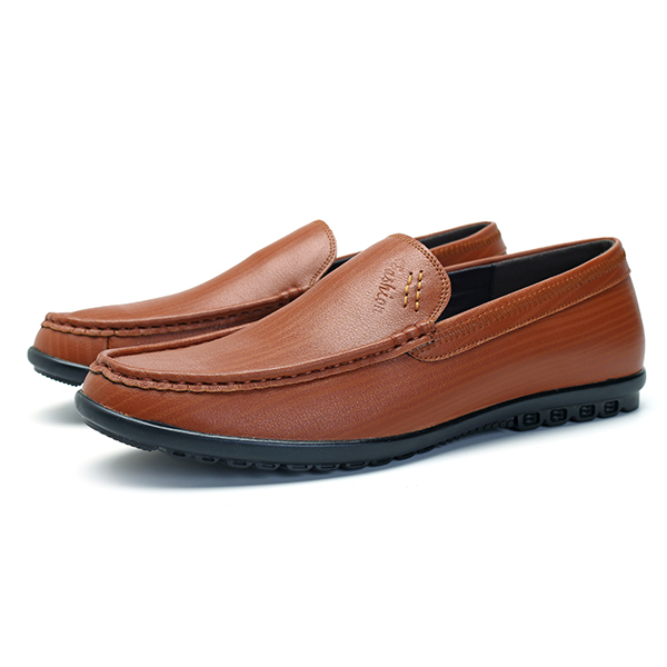 Men Comfy Sole Genuine Leather Slip On Loafers