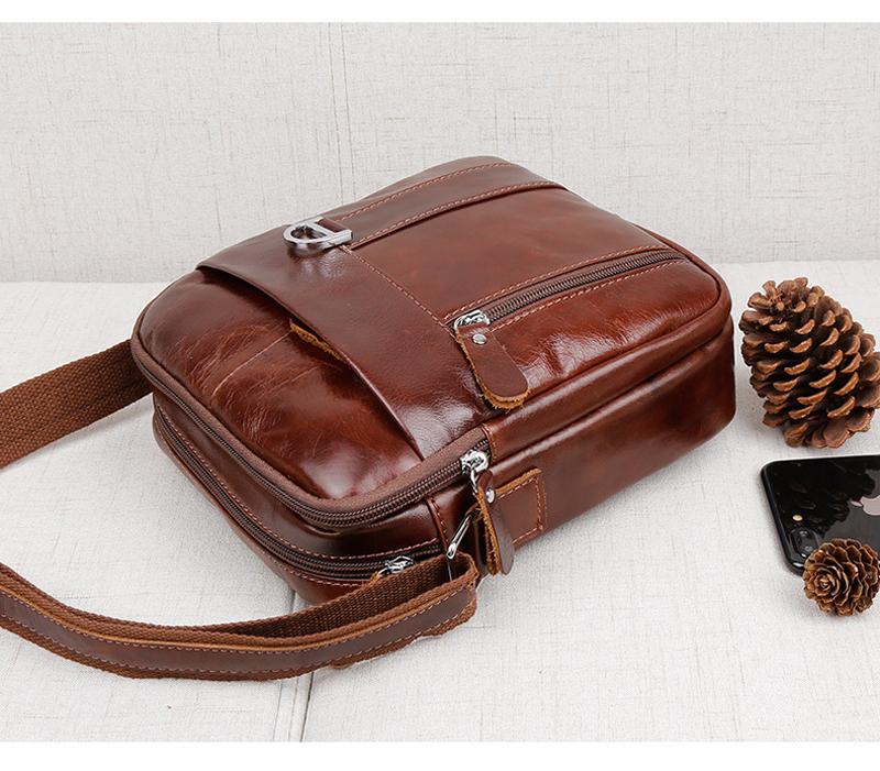 Brown Genuine Leather Shoulder Bag Messenger Crossbody Briefcase Sling Bag for ipad Mini