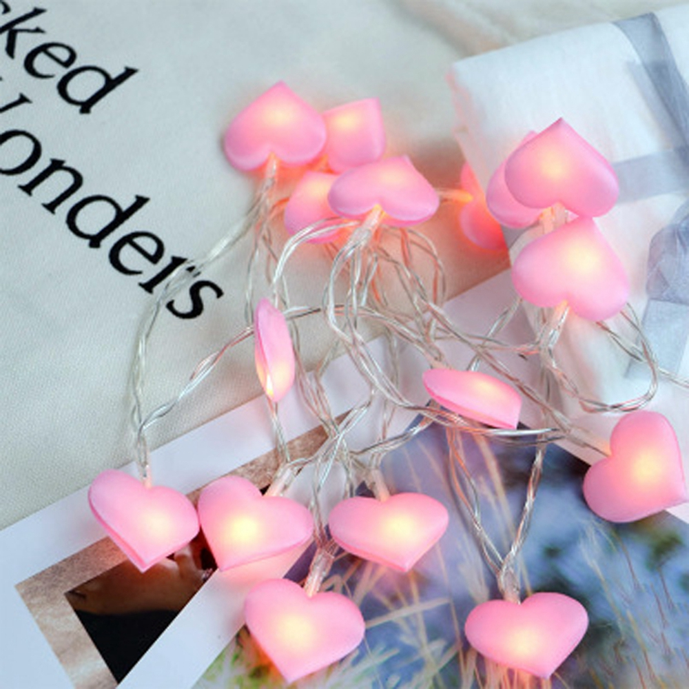 3M Battery Powered Pink Love Heart 20LED Fairy String Holiday Light for Bedroom Home Decoracion