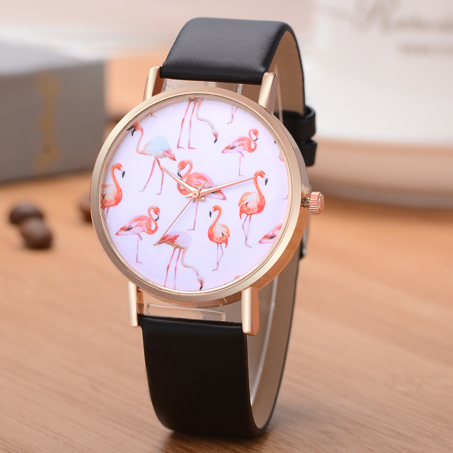 Rose Gold Case Flamingo Leather Strap Women Wrist Watch
