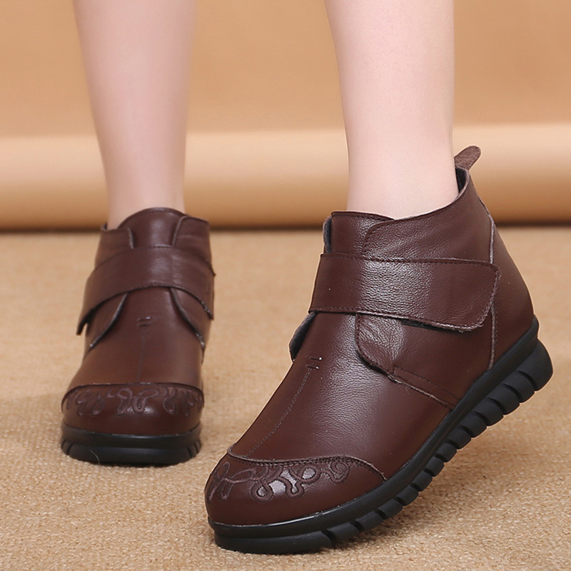 Round Toe Genuine Leather Ankle Boots