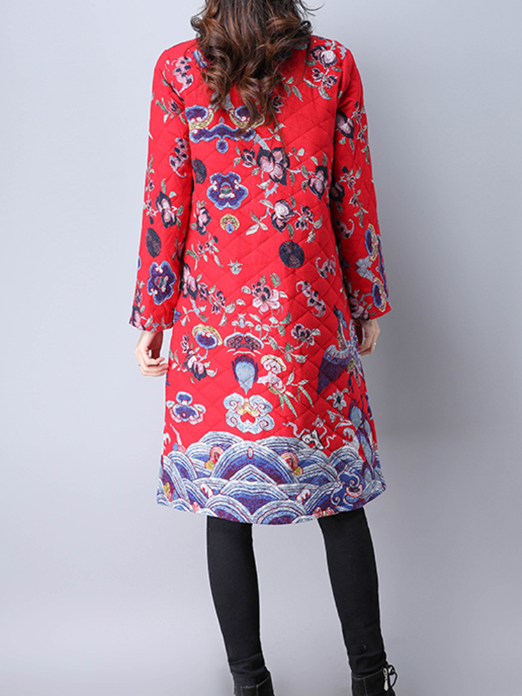 Folk Style Floral Print Long Sleeve Stand Collar Women Coats