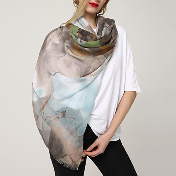 Women Ink Painting Cotton and linen Long Scarves