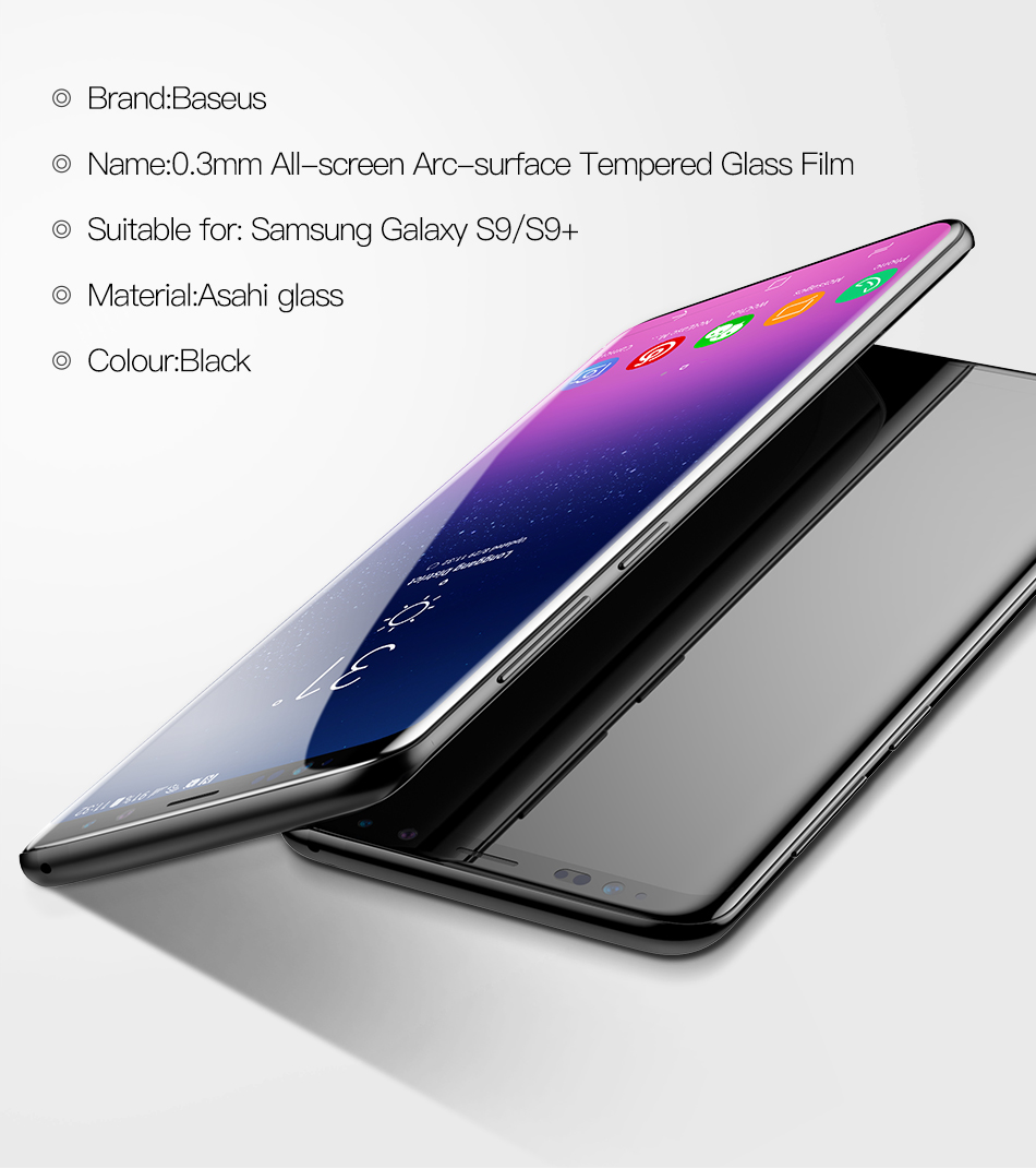 Baseus 0.3mm All Screen Arc-surface Tempered Glass Screen Protector for Samsung Galaxy S9 Plus