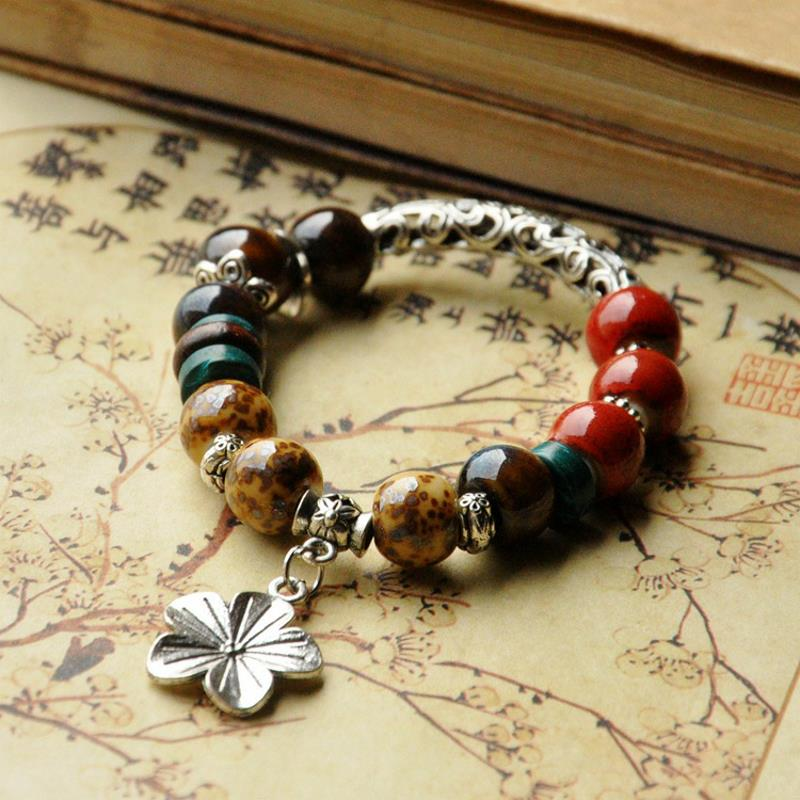 Ethnic Colorful Beads Flower Adjustable Ceramic Bracelets