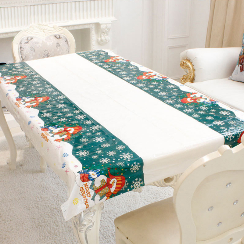 1PC 110x180cm Rectangular Disposable Table Cloth Christmas Tablecloth Printed Table Cover New Year Party Home Decoration