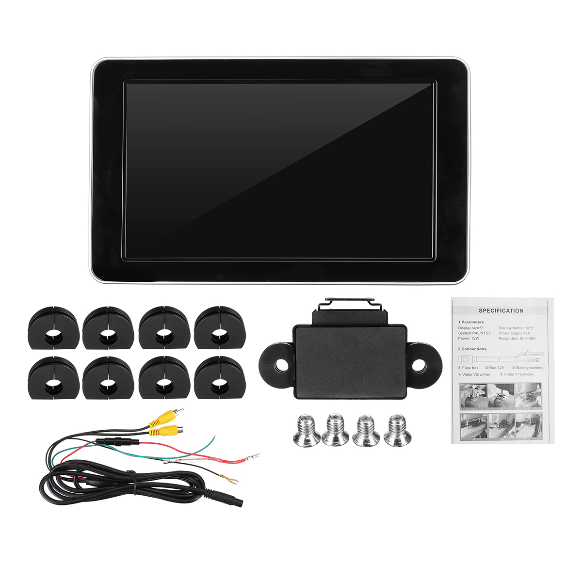 9Inch HD TFT Color LCD Car Headrest DVD Player Audio Monitor Screen Input Radio AV Support Backup Camera