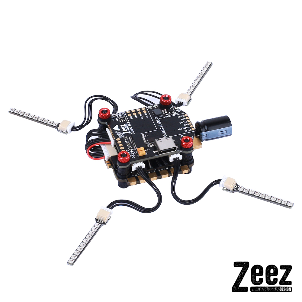 Zeez F7 FC MPU6000 5V/3A BEC 6UARTS OSD 30.5*30.5mm 3-8S+Zeez 60amp 4-in-1 BLHeli_32 ESC+Zeez LED System FPV Combo RC Stack for FPV Racing RC Drone
