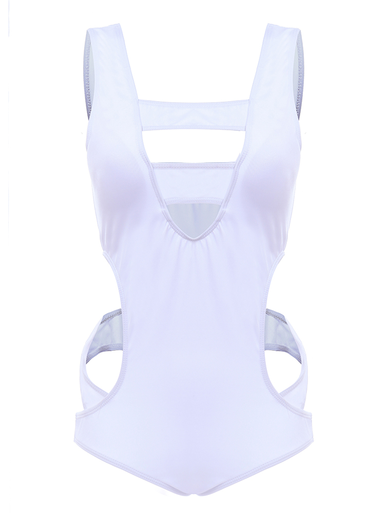 2XL-5XL Plus Size White Sexy Chest Hollow Out Swimsuit Widen Line Pure Color One-piece
