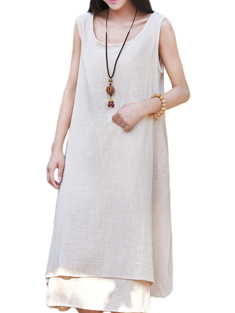 Loose Women Sleeveless Drawstring Fake Two Pieces Cotton Linen Dress