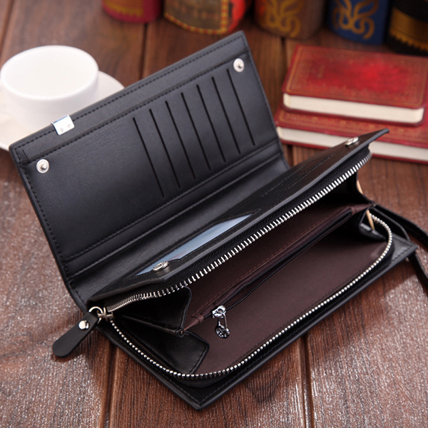 PU Leather Long Clutch Bag Solid 7 Card Slot Wallet Multi-fu