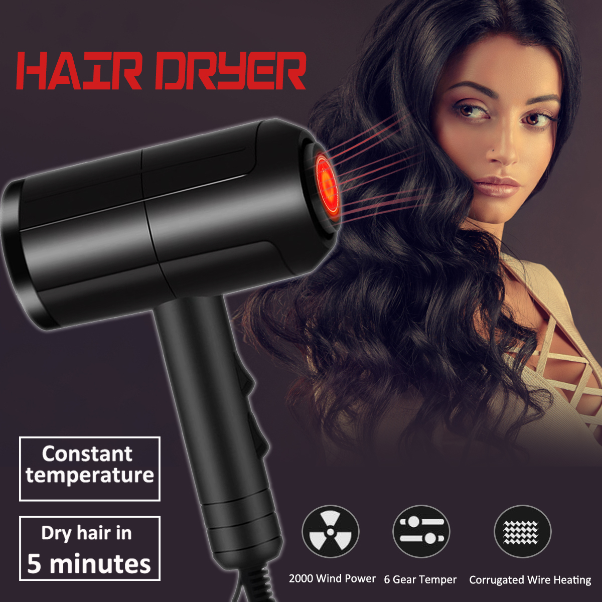 2000W Hairdressing Salon Electric Hair Dryer Constant Temperature Home Blower