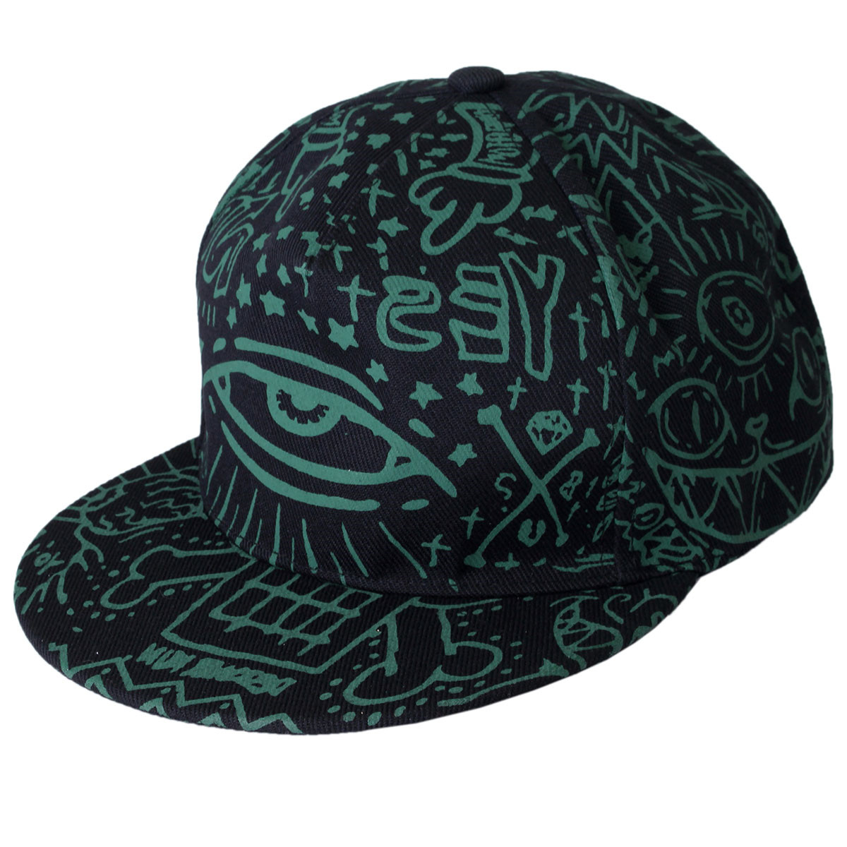 Mens Women Hip-Hop Baseball Flat Bill Hat Graffiti Hippie Snapback Adjustable Cap
