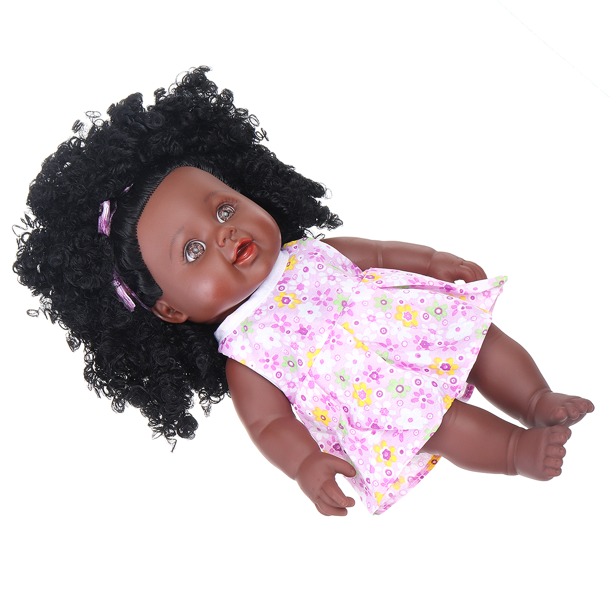 12Inch Simulation Soft Silicone Vinyl PVC Black Baby Fashion Doll Rotate 360° African Girl Perfect Reborn Doll Toy for Birthday Gift - Photo: 7