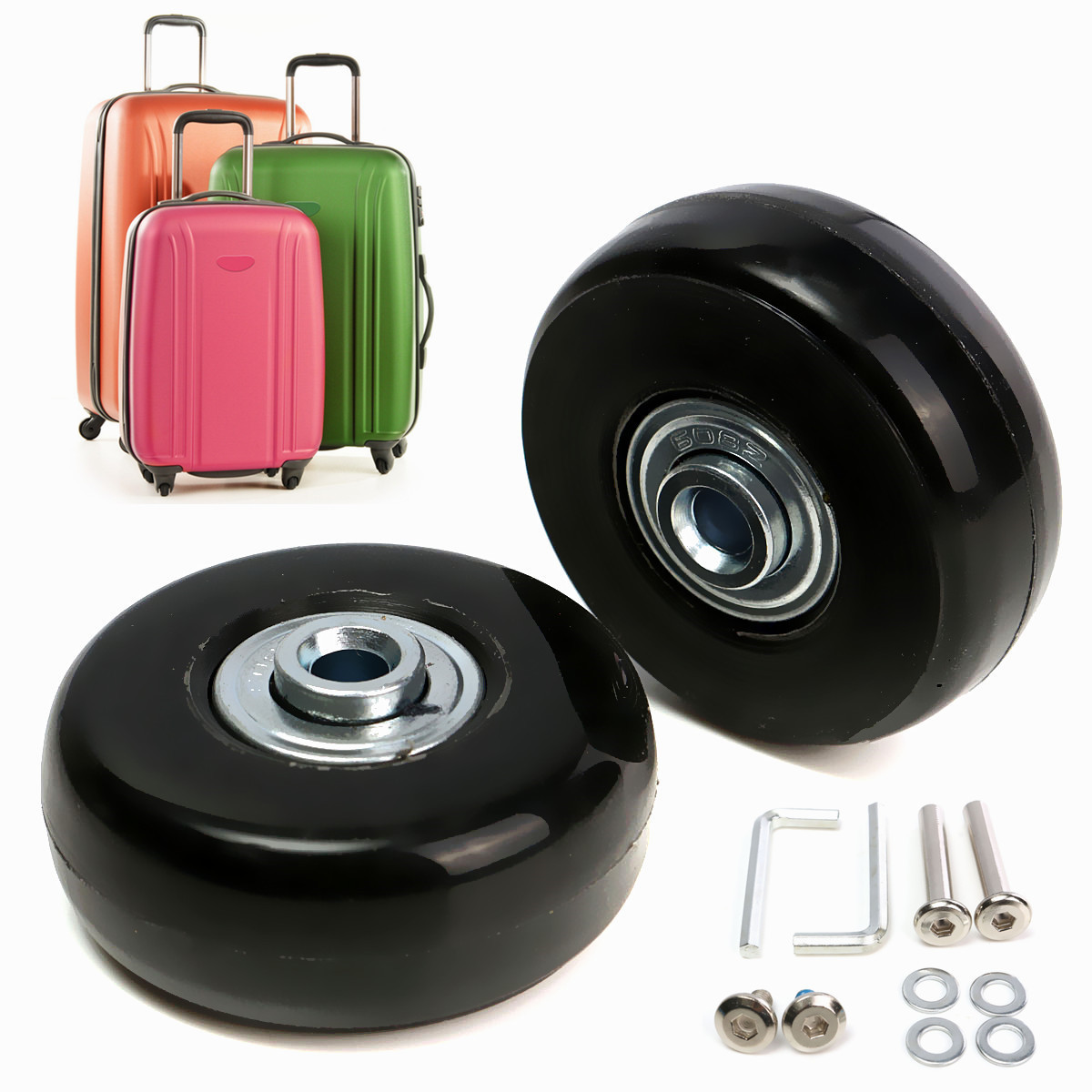 2pcs Luggage Suitcase Replacement Wheels Axles Deluxe Repair 50×22mm