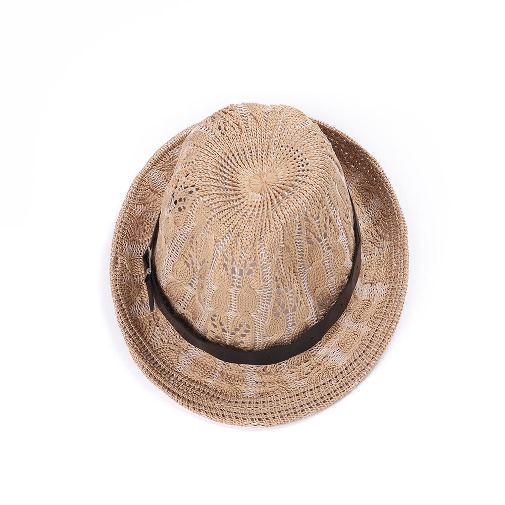 Womens Hollow Out Wide Brim Flat Bill Cap Beach Jazz Hat